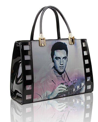 Presley De Para Bolso 2 De El Cm Mujeres Elvis Impresión 3d Tamaño Comprador 5x35x12 29 Las Efecto Mano Bolso Negro 7zqtt0
