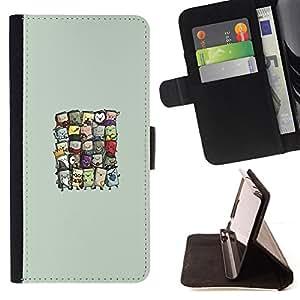 BullDog Case - FOR/Sony Xperia Z1 L39 / - / Cute Wizards /- Monedero de cuero de la PU Llevar cubierta de la caja con el ID Credit Card Slots Flip funda de cuer