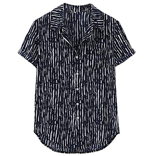 (utda.sh-fs Men Shirt Zebra Crossing Stripe Printing Hawaiian Button Stand Collar Top Blouse Black)