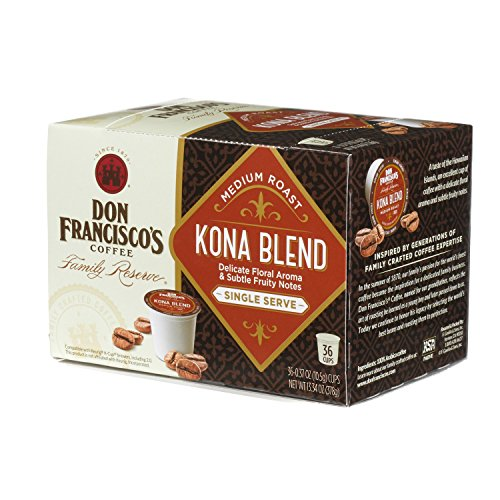 Don Francisco's  Kona Blend, Premium 100% Arabica Coffee Beans, Floral Aroma, Medium Roast, Ground, Single Serve Pods for Keurig, Family Reserve, 36-Count