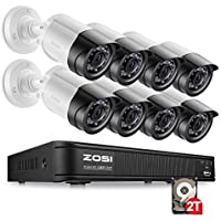 ZOSI 8-Channel AHD-TVI 1080p Security Camera System,Surveillance DVR Recorder with (8) 2.0MP 1920TVL Indoor/Outdoor Weatherproof Bullet Cameras,2TB Hard Disk Built-in