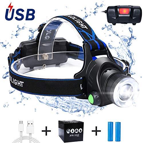 flintronic LED Linterna Frontal, 3 Modos Recargable Linternas Frontales, Linternas LED alta Potencia 6000K 800LM…
