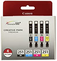 Canon CLI-251 Creative Park Premium Ink Cartridges Black, Cyan, Magenta, Yellow - 4 color pack