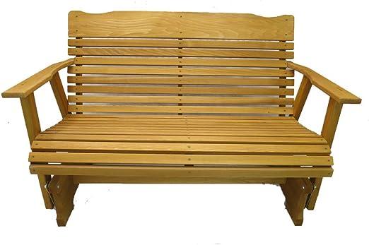 Banco para porche, de madera de cedro vela, acabado barnizado, fabricación amish: Amazon.es: Jardín