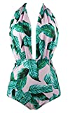 COCOSHIP Pink & Forest Green Leaves Retro One Piece Backless Bather Swimsuit Pin Up Swimwear Monokini L(FBA)