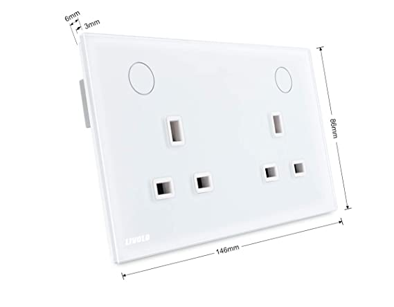 Livolo White Touch Switched Soket Wall Socket With Tempered Glass