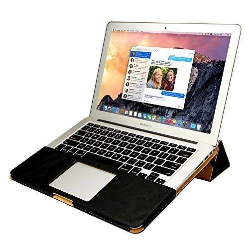Jisoncase ELEGANT Macbook Air 13 Zoll Hülle Ständer-Design Ultrabook Laptop Tasche Case für Apple Notebook in schwarz JS-AIR-06R10