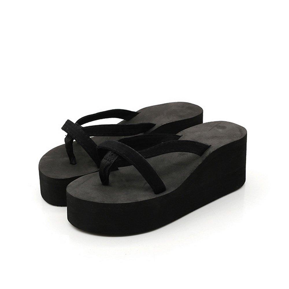 Dihope Damen Mode Flip-Flops Elegant Hausschuhe Zehentrenner Mauml;dchen Schuhe Sommer Sandalen Strand Schuhe Hoher Absatz  38|Schwarz