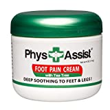 PhysAssist Foot Pain Cream 4 oz with Arnica, Peppermint & Tea Tree is Deep Soothing & Calming to Painful Feet & Legs with Cramping, Burning & Numbness Sensations sometimes associated with Neuropathy.