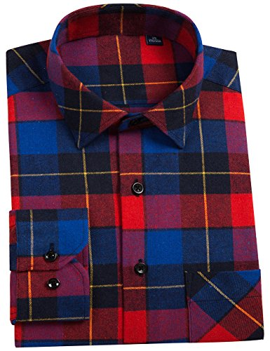 Multi Plaid Flannel - DOKKIA Men's Button Down Buffalo Plaid Checked Long Sleeve Flannel Shirts (Red Blue, Large)