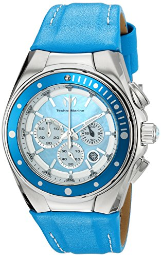 Women's Manta Ray Chronograph Blue Genuine Leather And Mop Dial Ss TM-215034