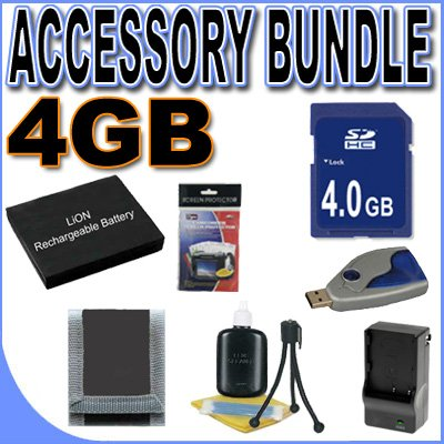 BigVALUEInc Accessory Saver 4GB SD NP-40 Lithium Ion Battery/Rapid External Charger Bundle for Casio Digital Cameras + More