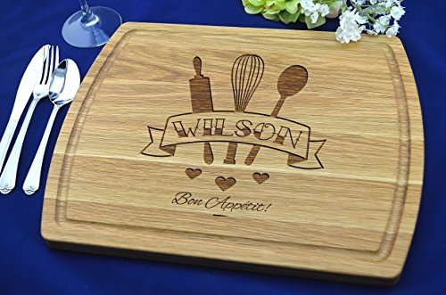 (Personalized & Engraved Cutting Board, Real Wood Cutting Board, Unique Wedding Gift, Anniversary Gift, Housewarming, Cutting Board, Natural Wood Cutting Board, Style #015 )