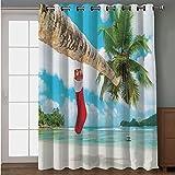 "perfect tropical patio decor ideas iPrint Blackout Patio Door Curtain,Christmas Decorations,Sock on Palm Tree on Tropical Sandy Beach Island Maldives Festive Decor,Multi,for Sliding & Patio Doors, 102"" W x84 L"
