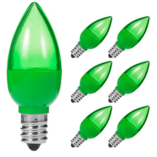 LOHAS LED C7 Candelabra Bulb, Green Night Light, E12 Screw Base Lamp, 360-Degrees LED Light, 1Watt Chandelier Bulb, 110-130V Bulb, Not-dimmable, Tiny Bulb, Decorative Holiday Lighting (Pack of 6)