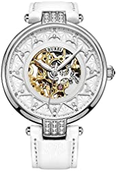 BUREI Women's White Dial Skeleton Automatic Watch with Calfskin Leather