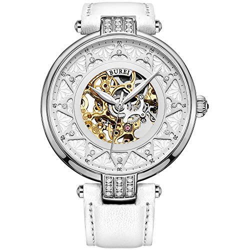 BUREI Women's White Dial Skeleton Automatic Watch with Calfskin Leather (gold) (Automatic Leather Ladies Watch)