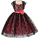 AkiDress Hi-Low Floral Lace Dress with Bolero for Little Girl Black Coral 6