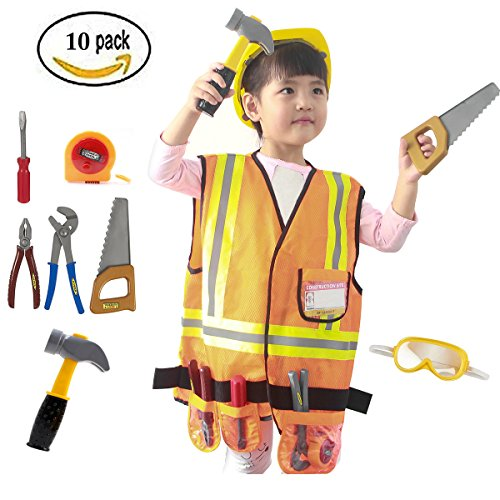Mizzuco Worker Role Play Costume Set Construction Worker Dress up Toy Kit with Tools for Kids(10PCS) - Costume Kit