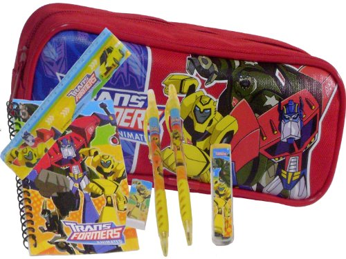 New Transformers Red Pencil Case + Stationery Set