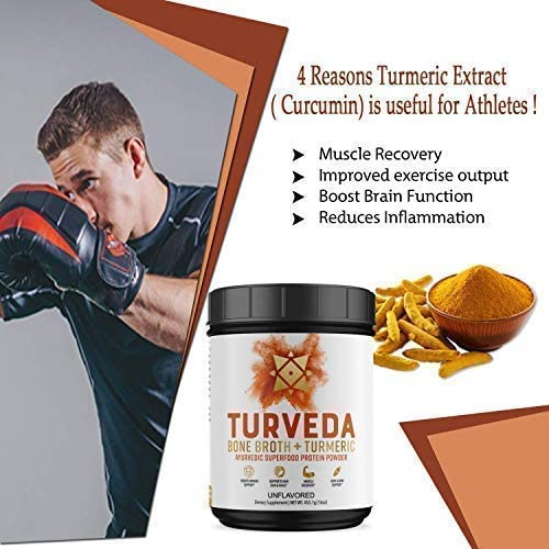 TURVEDA Turmeric Curcumin Infused Golden Bone Broth Protein Superfood Powder 500mg Curcumin Turmeric Root Extract and 20g Protein Per Serving Grass-Fed, Keto, Paleo, Unflavored, 20 servings