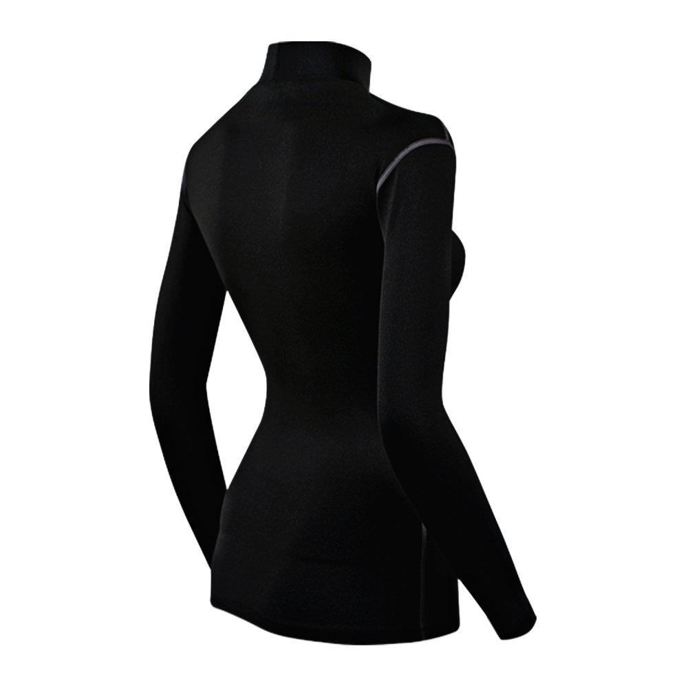 COOVY ATHLETE Women's Compression Base Layer Long Sleeve Mock Shirts, Style W05 (Black) by ATHLETE (Image #2)