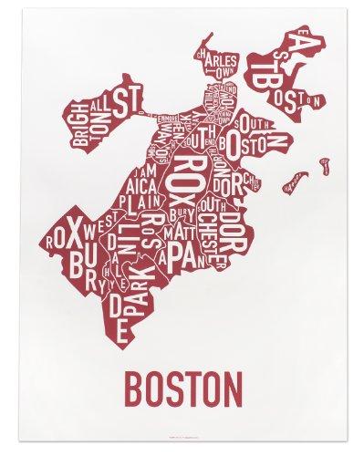 Boston Neighborhoods Map Art Poster, Red & White