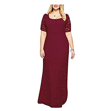 Riveroy Women\'s Formal Lace Plus Size Long Evening Dress Mother of The Bride