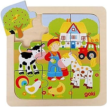 Goki Juego de Mesa Puzzle Madera 9 Piezas Grandes Modelo LA Granja Primera Infancia Niños +2 años: Amazon.es: Juguetes y juegos