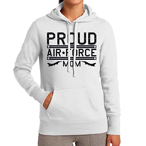 Adult's Proud Air Force Mom White Hoodie (Small)