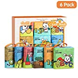 TUMAMA Soft Books for Babies, Baby First Soft Books Early Education Toys Activity Crinkle Cloth Book for Newborn, Toddler, Infants Kids - Pack of 6