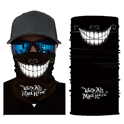 (Skull Face Mask Half Sun Dust Protection, Vivid 3D Tube Mask Seamless Durable Face Mask Bandana Skeleton)