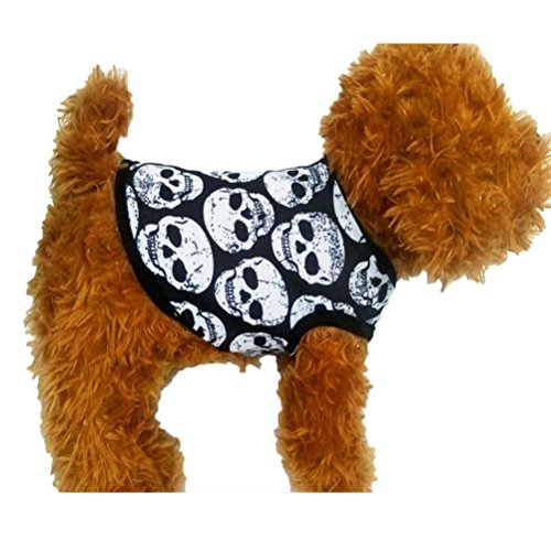 Howstar Puppy White Skull Print Vest, Small Dog Outfit Cute Sleep Shirt Apparel (XXS, Black)
