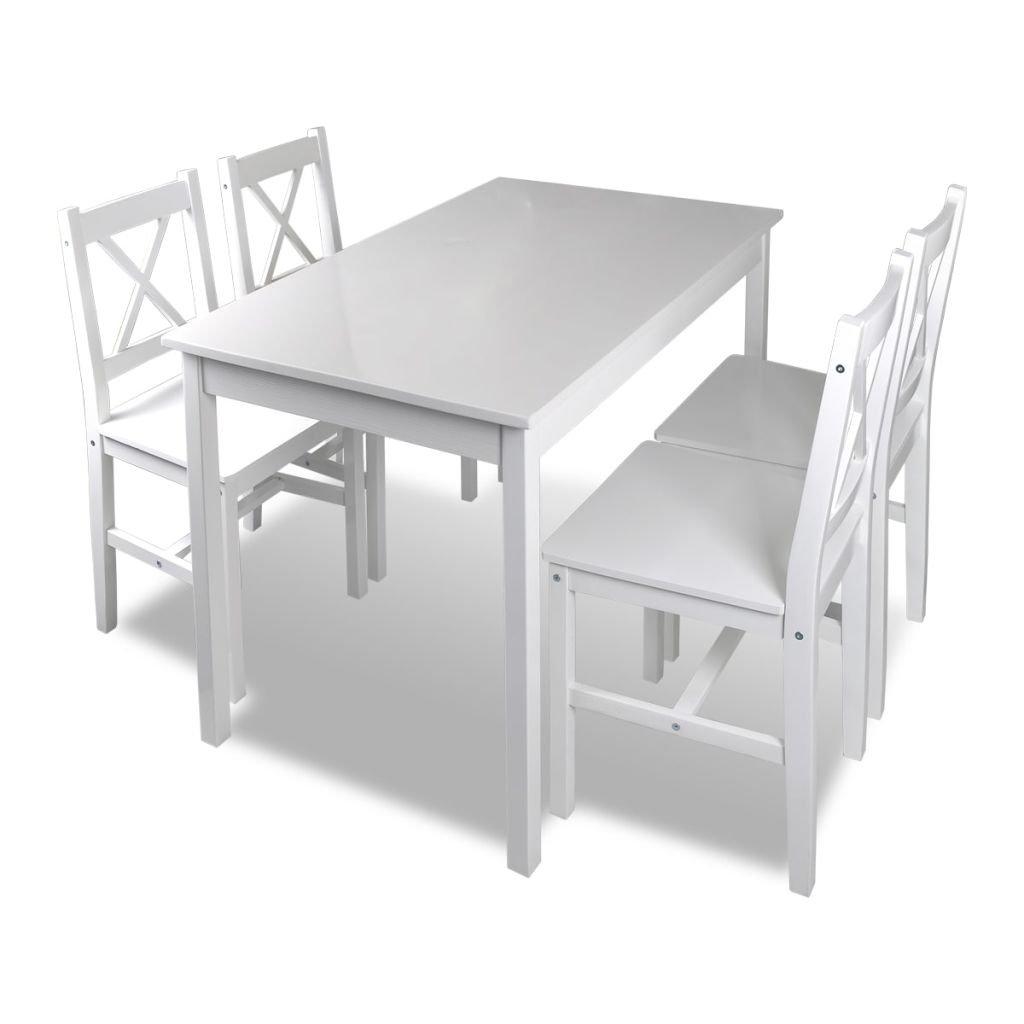 vidaXL 1 ensemble Table en bois + 4 chaises Couleur Blanc Cuisine Salle à manger Set