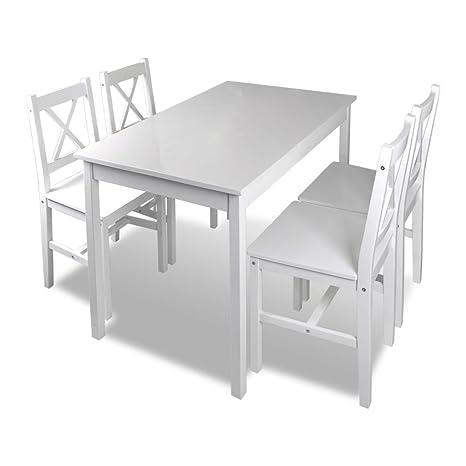 Set Tavolo E Sedie Cucina.Vidaxl Set Da Pranzo Per Giardino In Legno Bianco Tavolo E Sedie Per