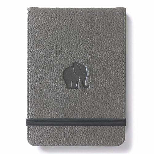 Dingbats Wildlife Lined Hardcover Notebook - PU Leather, Perforated 100gsm Ink-Proof Paper, Pocket, Elastic Closure, Pen Holder, Bookmark (Gray Elephant, Reporter A6+ (6.1 x 4.1))