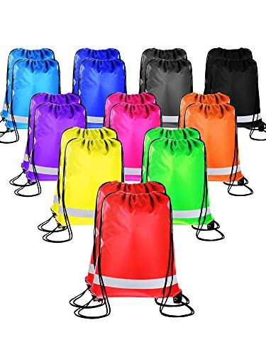 Promotional Rain Ponchos - 20 Pieces Drawstring Backpack Sport Bags Cinch Tote Bags for Traveling and Storage (Reflective 10 Colors, Size 1)