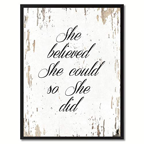 SpotColorArt She Believe She Could So She Did Motivation Quote Canvas Print Picture Frame Home Dcor Wall Art Gift, White, 7x9