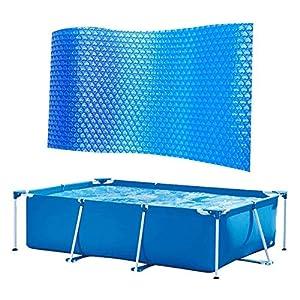 juman634 Cubierta Rectangular para Piscina De Lona Solar Cubierta De Piscina De Papel De Aluminio Solar Cubierta Protectora para Piscina Película Aislante para Piscina con Marco, Azul
