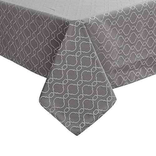 Deconovo Moroccan Jacquard Square Table Cover Modern Style Spillproof Tablecloth for Restaurant 54x54 Inch Grey