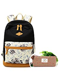 SymbolLife Casual Style Lightweight Canvas Laptop Backpack Cute Travel School College Shoulder Bag/Bookbags/Daypack for Teenage Girls/Students/Women-With Laptop Compartment with One Free Pen Bag, Black