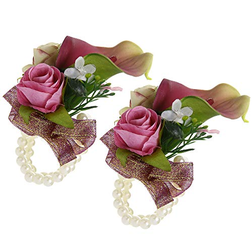 Febou Wrist Corsage Pack of 2 Wedding Bridal Wrist Flower Calla Lily Wristband Hand Flower for Bride Bridesmaid Perfect for Wedding, Prom, Party (B-Purple)