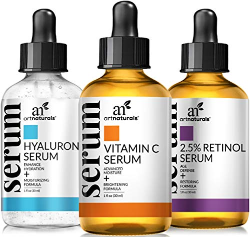 ArtNaturals Anti-Aging-Set with Vitamin-C Retinol and Hyaluronic-Acid - (3 x 1 oz) Serum for Anti Wrinkle and Dark Circle Remover – All Natural and Moisturizing