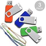 RAOYI 3 Pcs USB Flash Drive 16GB USB2.0 Thumb Drive Memory Stick Swivel Design (3 colors Mixed : Green Orange and Blue)