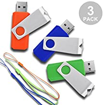 RAOYI 3 Pcs USB Flash Drive 16GB USB2.0 Thumb Drive Memory Stick Swivel Design (3 colors Mixed : Green Orange and Blue)