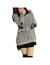 Meilaier Womens Fashion Skull Blouse Knitted Sweater Jumper Loose Knitwear