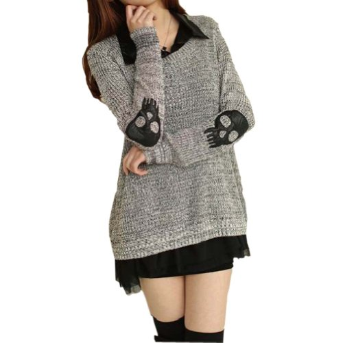 Meilaier Womens Fashion Skull Blouse Knitted Sweater Jumper Loose