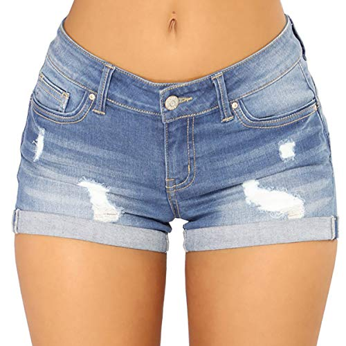 Mirawise Women's Jeans Shorts Summer Distressed Mid Rise Folded Hem Ripped Denim Shorts Light Blue ()