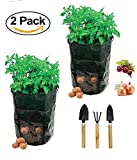 Garden Planter Bag with 3 Planter Tools, 2 Pack 7 Gallon Vegetables Grow Bags with Access Flap and Handles for Harvesting Potato,Carrot & Onion