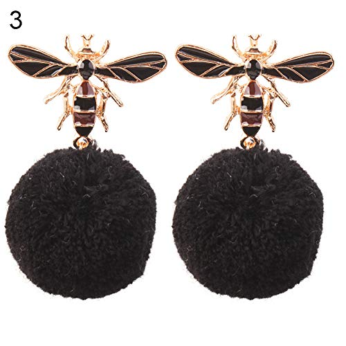 2mm Large Hoop Earrings - Opeof Earrings Cute Honeybees Fuzzy Ball Pendant Earrings Fashion Lady Enamel Ear Studs Jewelry - Black